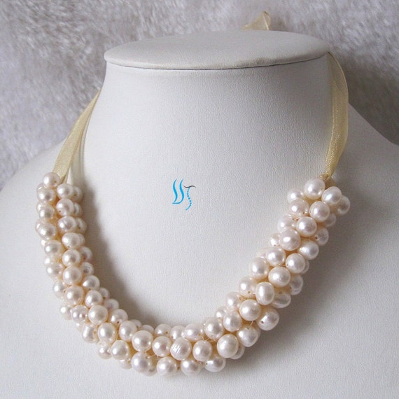 Pearl Bib Necklace - 18 inches 7-8mm White Freshwater Pearl Bib Necklace - Free shipping