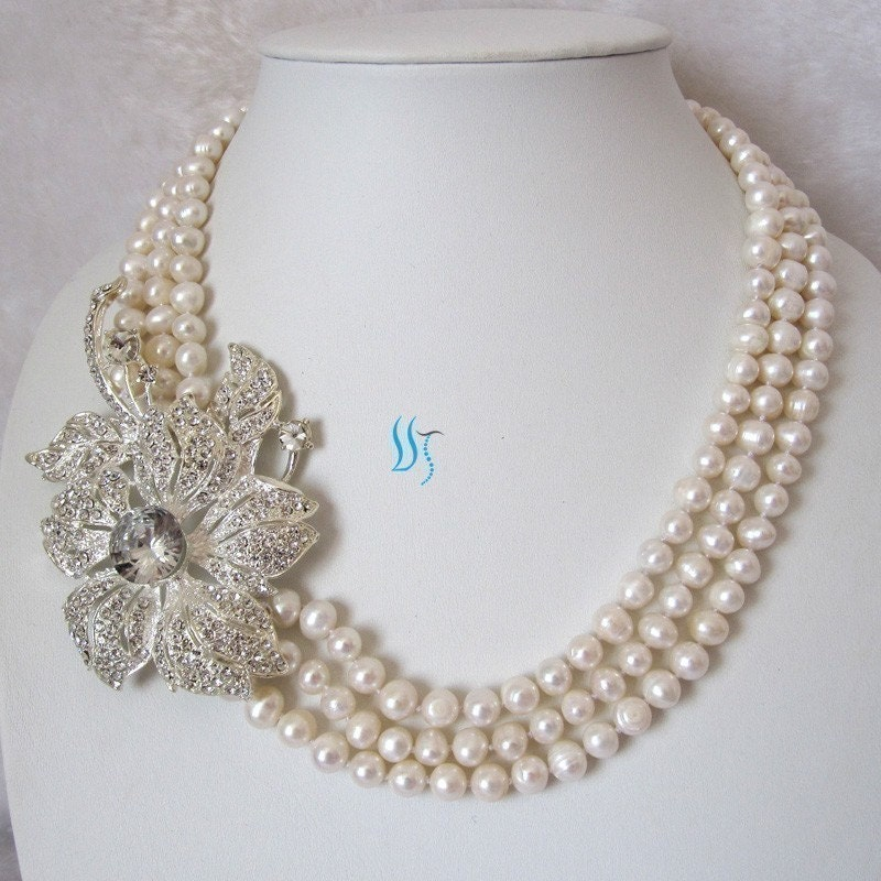 pearl necklace pearl bridal necklace 20 23 inches by