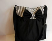 NEW - Lovely Black Mya Bag in 'Black n White' Stripes With A Bow and Adjustable Strap