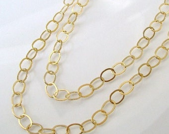 52 Inch Gold Filled Layering Oval Link Chain With Lobster Clasp - Any Length Available