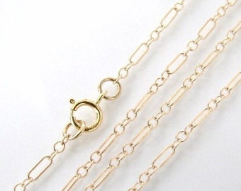 32 Inch Gold Filled Long and Short Chain With 5mm Spring Clasp - Any Length Available