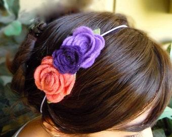 Purple and orange Felt Flower skinny elastic headband / girl headband / newborn headband / baby headband.