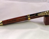 Handcrafted Rosewood Caduceus Medical Symbol Ball Point Pen