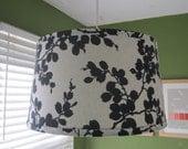 "Linen & Black Leaves Print Lamp Shade. Custom-made. Drum Shape. 11""H"