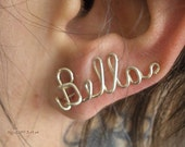 Name Earrings, Ear vines, Sweeps Sterling Silver up to 6 letters ANY NAME MADE