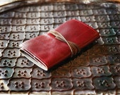 Red Leather Compact Flash Card Pouch  DSLR Camera Card Case