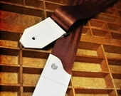 NEW Leather and Seat Belt Guitar Strap - Burgundy
