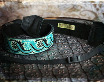 New Design - Turquoise and Black Leather and Suede Camera Strap