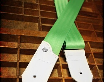 Leather and Seat Belt Guitar Strap - Lime