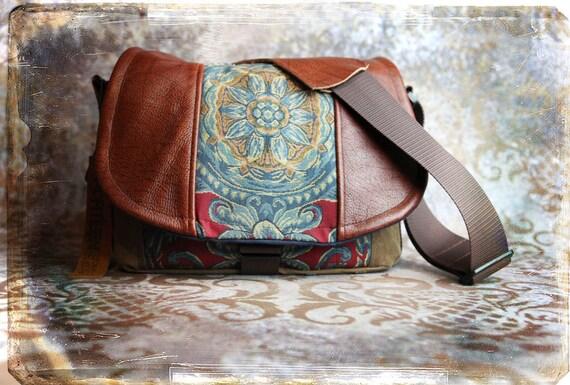 Pre-Order -  Red Blue Medallion and Leather DSLR Camera Bag