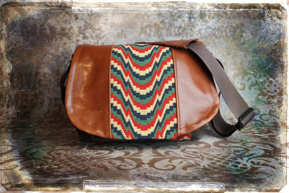 Pre-Order -   Bright Waves and Leather DSLR Camera Bag - Medium