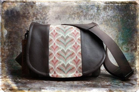 IN STOCK-  Hearts Tapestry Leather DSLR Camera Bag - Medium