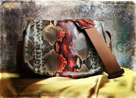 Leather Camera Bag -  Italian Leather Snake Python Medium DSLR - IN STOCK