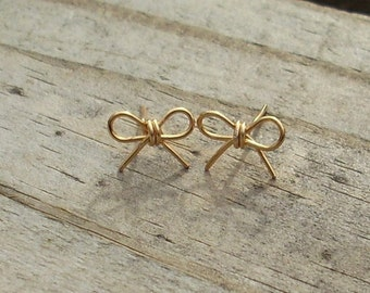 Gold wire Bow  Earrings. Forget me Knot Earrings. Forget Me Not Earrings. Bow Earrings. Bow Jewelry