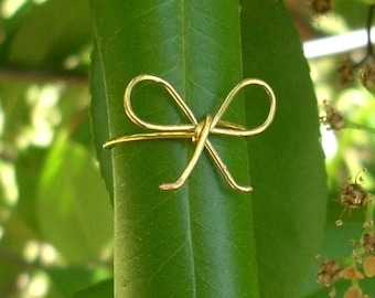 Gold wire Bow ring