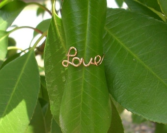 14K Rose Gold LOVE Ring.