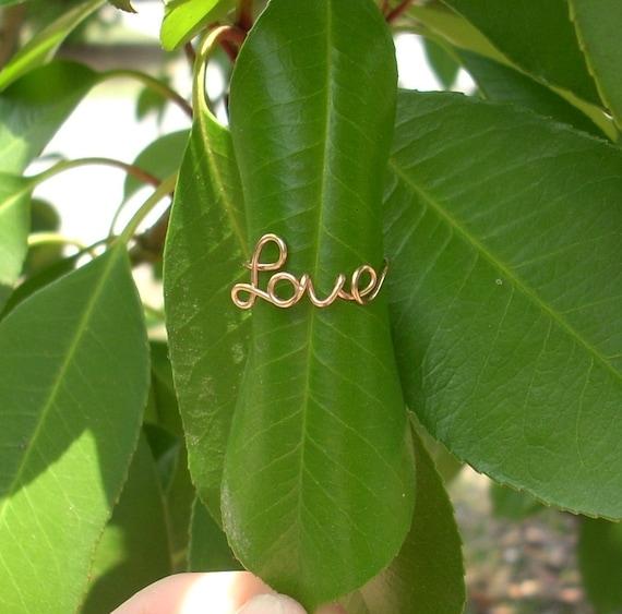 14K Rose Gold LOVE Ring.