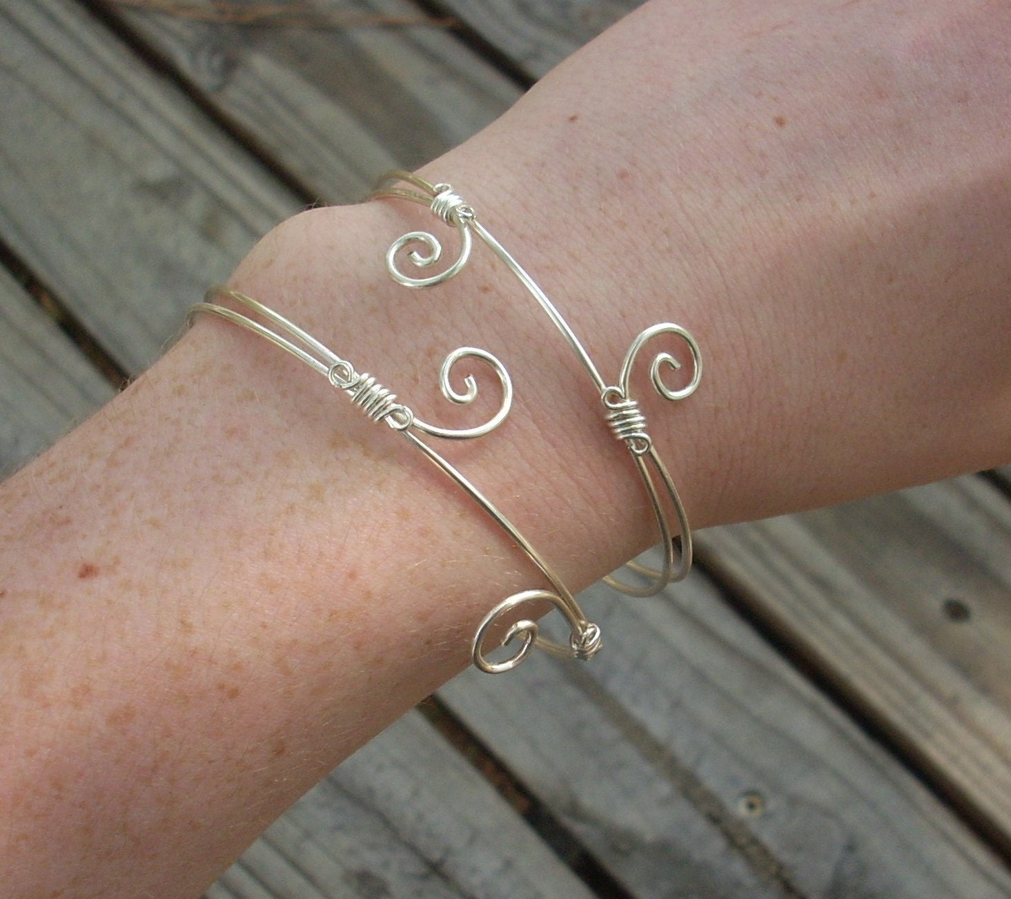 Cuff Bangle Bracelet: Adjustable Silver Wire Bangle Bracelet/Upper Arm Torc Cuff