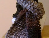 Brown gray and black hand knit scarf