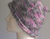 Soft Pink and Gray hand Knit Hat