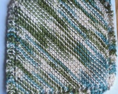 Green, light blue and cream hand knit cotton dishcloth