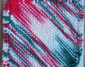 red, white and green hand knit Dish or Wash Cloth