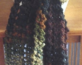 Green and brown fancy Hand Knit Scarf
