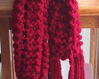 Beautiful Red Fancy hand knit Scarf