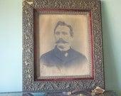 Large Antique Portrait of Victorian Era Man in Ornate Wood and Velvet Frame