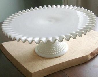 Vintage Fenton Hobnail Milk Glass Cake Stand