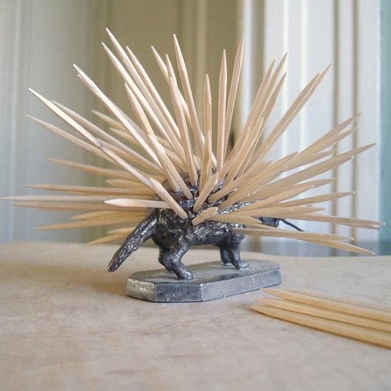 Rare Antique Victorian Era Figural Silver Porcupine Toothpick Holder
