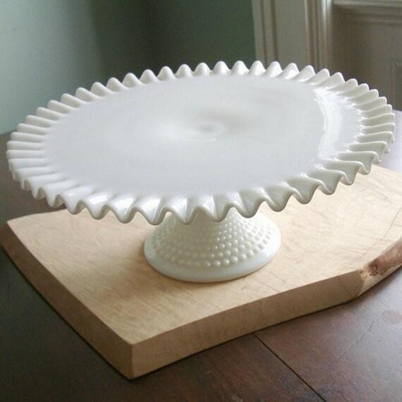 White Milk Glass Hobnail Cake Stand