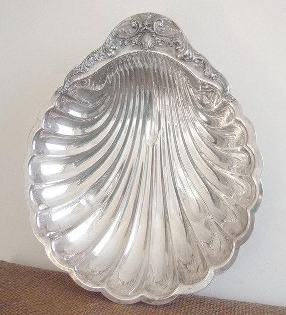 Huge Vintage Silver Shell Serving Bowl