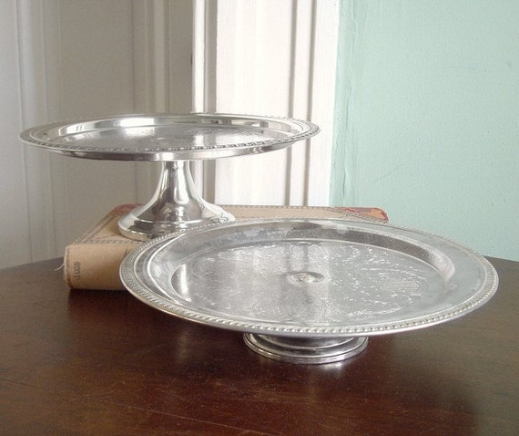 Set of 2 Vintage Silver Plate Cake Stands