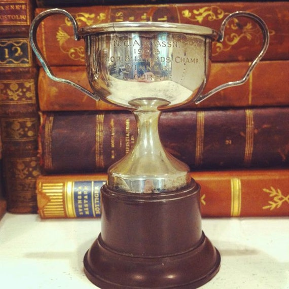 Vintage 1938 English Silver Plate Billiards Trophy