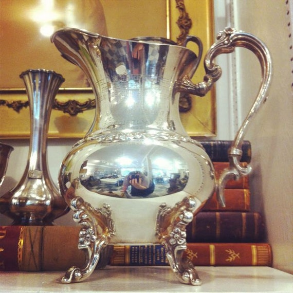Vintage 1960s Silver Plate Equestrian Trophy Pitcher