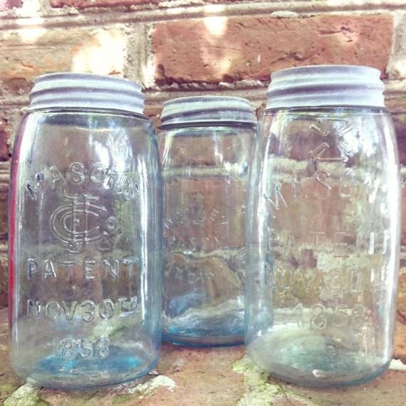 Antique 1858 Pale Blue Glass Masons Jar with Zinc Lid