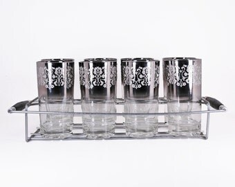 Etched Silver Ombre Highball Glasses Set of 8 with Caddy Vintage