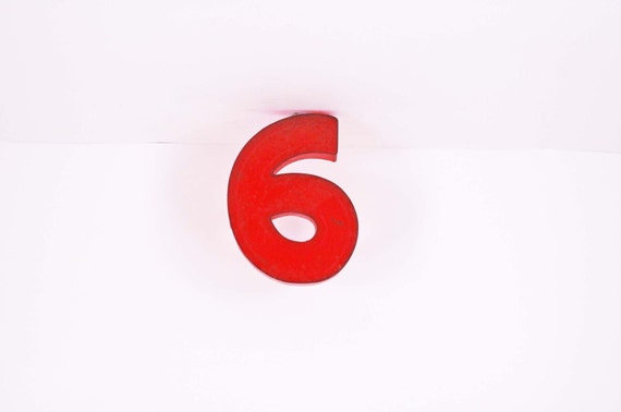 Marquee Number - 6 in Red