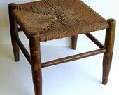 Vintage Woven Rush Rope Footstool