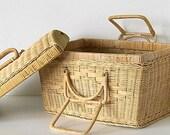 Vintage Basket Large Sewing or Picnic Basket