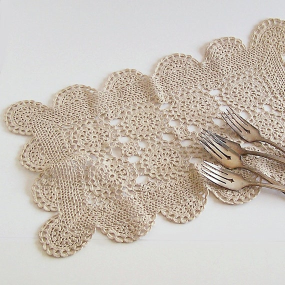 Vintage Hand Crocheted Natural Cotton Placemat