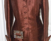 VINTAGE 40s Lilli Ann of San Francisco Bronze Cocktail Suit with Huge Jeweled Buckle-RESERVED