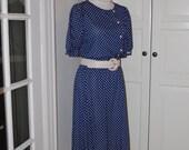 70s Dress, Navy & White, Polka Dot, Secretary, Short Sleeve, Jordache, NWT, Size M/L