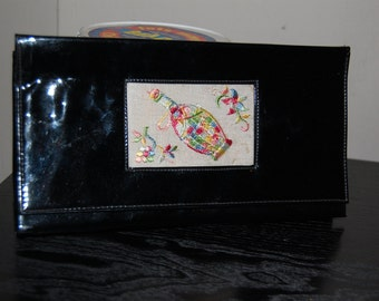 50s Clutch, Purse, Black, Patent Leather, Bag, Embroidery, Bottle, Flowers, Evening, Accessories
