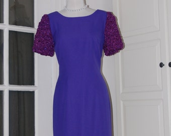 80s Dress, Cocktail, Purple, Crepe, Ruched, Sequinned Sleeves, NWT, Size Medium