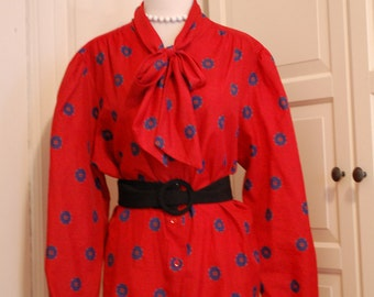 """VINTAGE 70s Tie Front Blouse in Red Blue Green, Larger Size, by """"Rhoda Lee"""""""