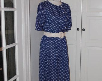 70s Dress, Navy & White, Polka Dot, Secretary, Short Sleeve, Jordache, NWT, Size M/L