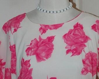 50s Dress, Roses, Mermaid Hem, Crepe, Bunny's Casuals of Miami, Size L/XL