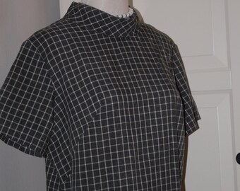 60s Shift Dress, Gray and White Checks, Cotton, Short Sleeves, Size L,